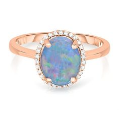 Opal & 1/10 ct. tw. Diamond Ring in 14K Gold