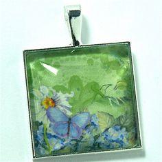 Pendant Daisy Blue Butterfly Hydrangeas by CynthiaVHEhrlich, $16.95