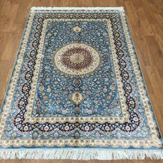 4'x6' Multi-color Fine Silk Floral Carpet Persian Style Hand Knotted Qume Rug