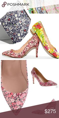 """J.Crew Liberty floral pumps New, Never worn. Crafted in Italy in a signature print from London's Liberty Art Fabrics and finished with an eternally vogue pointed toe.   Narrow across toe; those with wider feet may want to size up. Cotton upper. Leather lining. 3 1/2"""" heel. Made in Italy. Interior sole marked to prevent returns. Item 48015.  No trades. All sales final. J. Crew Shoes Heels"""