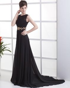 Pleated Chiffon Floor Length Celebrity Dress