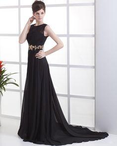 Pleated Chiffon Floor Length Celebrity Dress