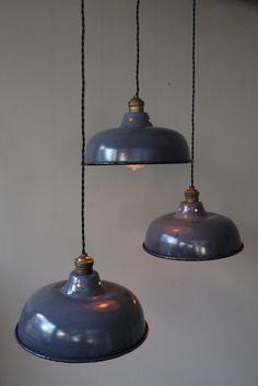 abat jour emaillee lampe industrielle grise