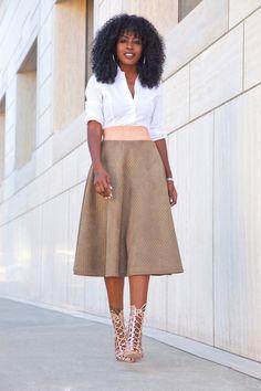 e817da7c192 Button-Down Shirt + Quilted Midi Skirt