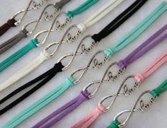 monogram love infinity bracelet, silver charm bracelet, trending personalized bridesmaid anniverssary gift
