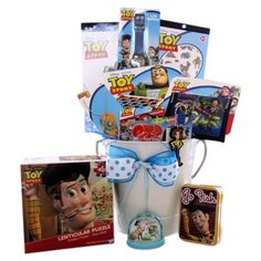 Gift Baskets for Kids - Gift Baskets for Kids Under 8 Toy Story Cast! Woody, Buzz and the cast of the blockbuster Toy Story movie are at your service to deliver the most special wishes for their fans all over. This Basket includes. Get Well Gift Baskets, Easter Gift Baskets, Get Well Gifts, Birthday Gift Baskets, Birthday Gifts For Kids, Birthday Boys, Birthday Ideas, Top Gifts For Kids, Valentine Baskets