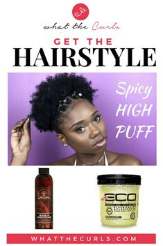 Spicy High Puff Natural Hairstyle - What The Curls Big Chop Natural Hair, Big Curly Hair, Long Natural Hair, Natural Hair Updo, Natural Curls, Curly Hair Styles, Natural Hair Styles, Natural Life, Flat Twist Updo