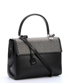 Saint Laurent black leather studded medium 'Moujik' convertible top handle bag | BLUEFLY up to 70% off designer brands