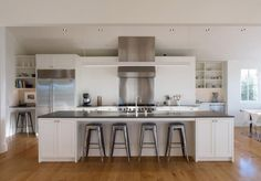 Kitchen- large island/worktable with stools Min Day-Sonoma-County-farmhouse-kitchen-stainless-steel-Tolix-stools