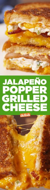Jalapeño Popper Grilled Cheese is the hottest sandwich of 2017. Get the recipe from Delish.com.