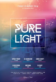 Pure Light Flyer by styleWish (Download PSD file) Bright poster design with vivid colors, magic ambiance, ​and subtle skyline. #graphicriver #photoshop #template