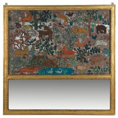 """""""Animal Decoration on Glass, with mirror """" by Charles Prendergast  ca. 1928-1932. The imagery seems to have been inspired by both biblical tales as well as medieval and folk art."""