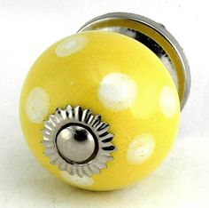Yellow White Dot Ceramic Cabinet Knob Set/2pc K98 Kitchen Drawer Pulls / Handles. Hand Glazed Ceramic Knobs / Pulls with Polished Nickel Hardware for Dresser, Drawers, Cabinets or Vanity