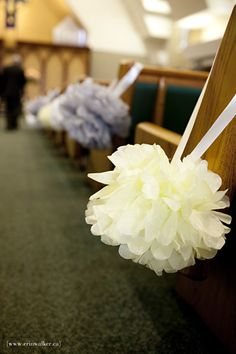 Tissue paper pom poms as decorations