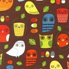 fabric -Retro owls-