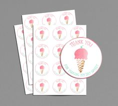 Ice Cream Thank You Favor Tag Printable, Pink Ice Cream Cone Social Soiree Party, Thanks For Making My Day Sweet Favor Tag, Girl Birthday Birthday Gifts For Husband, Birthday Cards For Mum, 3rd Birthday Parties, Girl Birthday, Birthday Ideas, Theme Parties, Princess Birthday, Soiree Party, Ice Cream Theme