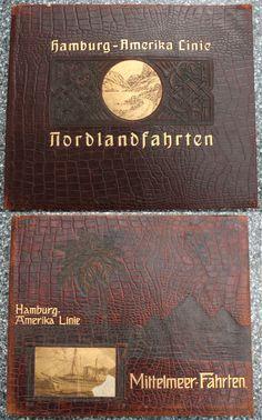 Kataloge der HAL mit Reisezielen und Fotos von Bord, geprägtes Krokodilsleder, 1921