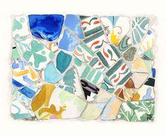 Afiche para la COCINA - BARCELONA - Trencadis de Gaudí - Impresión de acuarela original