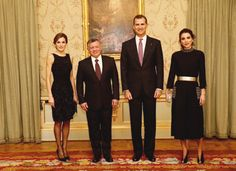 King Felipe and Queen Letizia, together with King Juan Carlos and Queen Sofía host a private dinner in honor of King Abdullah and Queen Rania,Madrid