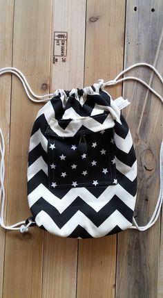 Zig-zag,Backpack Canvas Cotton drawstring Hip bag Handmade bag Gift for her,Front pocket,Star,Black and white,