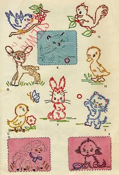 """Vintage McCalls 1253  """"Friendly Little Animals for Embroidery Trim""""  Kaumagraph Transfer Pattern"""