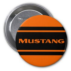 Orange Black Race Stripe Muscle Car Button