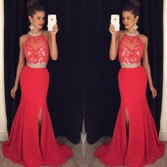 Halter Neck Split Side Prom Dress,Mermaid Long Red