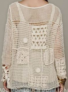 Crochet patterns: Crochet Free Form Patchwork Inspired by Free People Fall Pullover - Charts and Instructions