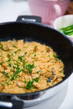 Svamprisotto / Blomkålsrisotto / Blomotto LCHF - 56kilo.se - Recept, inspiration och livets goda Lchf, Keto, Cauliflower Risotto, Cilantro, Low Carb Recipes, Deserts, Curry, Paleo, Vegetarian