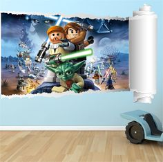 Lego Star Wars Simulated Wall Rip Mural Graphic Decal Sticker Lego Movie Star  Wars TMNT Marvel