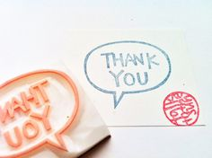 thank you stamp. hand carved rubber stamp. hand by talktothesun, $16.00