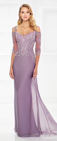 This elegant off-the-shoulder two-tone chiffon slim A-line gown with three-quarter illusion and lace sleeves offers a lace and metallic lace bodice with hand-beading, a natural waistline, and a sweep train. Removable narrow lace straps create cold shoulder cutouts.