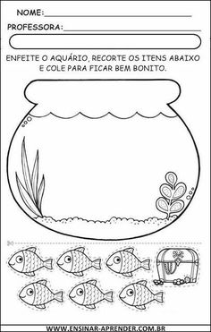 Best Art images in 2019 Preschool Learning Activities, Preschool Worksheets, Preschool Activities, Diy For Kids, Crafts For Kids, Fish Crafts, Busy Book, Pre School, Free Printables