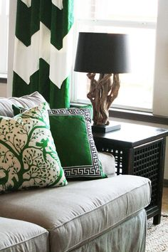 Kelly Green + Gray + Black Living Room. love the large chevron curtains