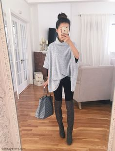 Light grey poncho+black leggins+dark brown knie long boots+grey tote bag. Fall…