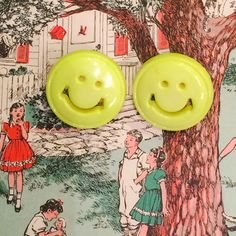 Vintage 90s kitsch Smile earrings Happy by JanetsVintagePlanet