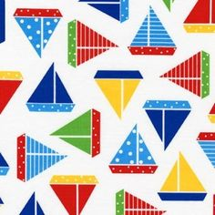 Sailboats in Regatta Sea and Sun collection by Ann Kelle for Robert Kaufman - yard increments Splat Mat, Laminated Cotton Fabric, Robert Kaufman, Waterproof Fabric, Print Pictures, Craft Gifts, Pattern Design, Quilts, Handmade Gifts