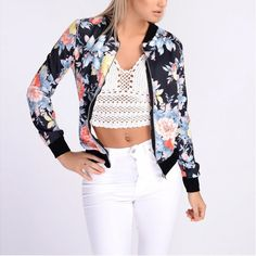 Flower Long Sleeve Bomber Jacket //Price: $22.23 & FREE Shipping  worldwide//     #looxyshop #style #outfit #ootd #love #girly #selfieday #instalike #dress #simplestyle