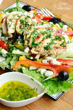 Greek Chicken Salad. Dinner salad made with all the wonderful Greek flavors and easy homemade dressing. The whole salad will take you 30 minutes to put together and it makes for a light, yet filling meal. | from willcookforsmiles.com