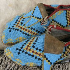 These moccasins were made in northern Montana in the 1880s by members of the Assiniboine tribe.