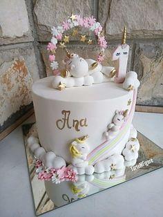 Unicorns fondant cake - cake by TorteMFigure Baby Girl Birthday Cake, Special Birthday Cakes, Cute Birthday Cakes, Unicorn Cake Design, Unicorn Cake Topper, Cupcakes, Bolo Fack, Gateau Baby Shower, Fruit Cake Design
