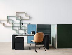GUBI // Dédal Shelf, Go Desk, Bestlite BL1, Beetle Chair