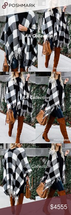 "Black and ivory Buffalo Check plaid Tassel shawl Black and ivory Buffalo Check plaid Tassel shawl  Poncho.  *No Armholes. length 24"" from shoulder to hem. Dimension 46x55  Fabric: 100% Acrylic Accessories Scarves & Wraps"