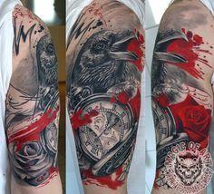 Tattoo-Foto: Trash Polka Rabe/Rose/Uhr