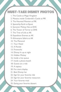 Must Take Disney Photos printable- Print out and put in my planning journal to cross off as we go!