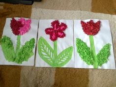 jarní tvoření .... lepení zmačkaného krepového papíru do tvarů květin