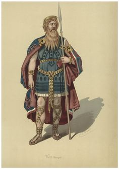 "Costume design (1876), by Karl Emil Döpler (1824-1905), for Wotan, in ""Das Rheingold"" (1854), by Richard Wagner (1813-1883)."