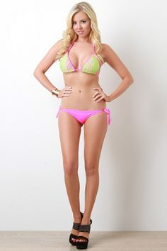 Neon String Bikini Set. Description This  bikini  set features contrasting floral lace, overlay, self tie halter and back straps, removable padded cups, and fully lined. Bikini bottomfeatures a solid neon color, low rise, self-tie string sides, and fully lined. Accessories sold separately. Made in U.S.A. 80% Nylon, 20% Spandex. Lining: 100% Polyester.  Measurement…