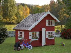 Leikkisä pikkukoti! Polhus-Leikkimökki Tom 2280x2200x1800 mm 3,8m² 16 mm ullakolla #netrauta #leikkimökki #piharakennukset