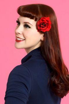 Fancy rose red hairflower clip broche